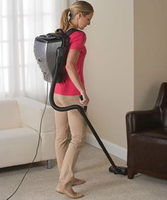 """The Backpack Vacuum: """"The canister piece weighs a mere 7.5 lbs, and features adjustable straps, and comfy cushioning to make sure that it feels simply delightful against your Rhomboid and Trapezius muscles.  The motor is 800 watts, it has a HEPA filter, 6 cleaning tools, 2 extension wands, and a mesh storage bag."""""""