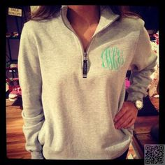24. Monogrammed #Quarter Zip Pullover #Sweatshirt - If You like It, Put a Monogram on It: 40 #Awesome Ideas ... → DIY #Monogrammed