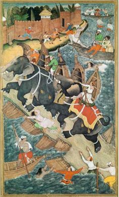 ***Akbar and the Elephant Hawai***--  Artist: Basawan and Chatar Muni--  Time1590-- Painting/ opaque water color on paper--  Era: Mughal