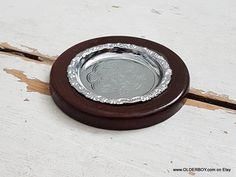 Wedding ring holder Wooden and Metal small dish coaster ashtray decorative dish for coins candy silver tone wood ashtray plate vtg N10/890