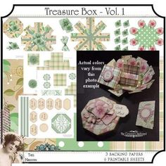 Create a pretty gift or keepsake treasure box with this printable kit. Simply print at home on 8.5 x 11 size paper, cut out and construct.    Includes . . .  6 printable 8.5x11 sheets  3 (8.5x11) printable backing papers    FOR PERSONAL USE ONLY    You only need adhesive to construct the box and pop dots for dimensional elements.  Thanks for looking  C2015 Teri Hanson