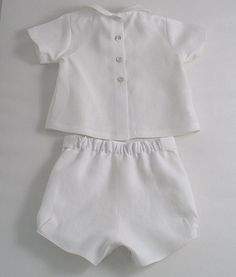 White Linen suit for a Baby Boy by patriciasmithdesigns on Etsy Little Boy Outfits, Kids Outfits, White Linen Suit, Baby Boy Baptism Outfit, Baby Boys, 2 Piece Outfits, White Embroidery, Sweet Dress, Baby Dress