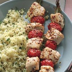 Rosemary Chicken Kebabs with Lemony Couscous -- the rosemary kebab adds extra flavor to the chicken and tomatoes!