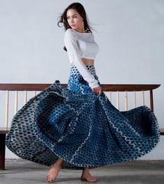Indigo Flared skirt by KharaKapas on Etsy