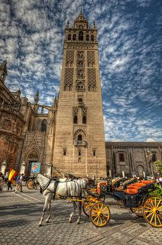 Giralda, Cathedral of Seville – Catedral de Sevilla, Spain HDR by marcp_dmoz… Places Around The World, Oh The Places You'll Go, Travel Around The World, Places To Travel, Places To Visit, Foto Hdr, Architecture Antique, Places In Spain, Seville Spain