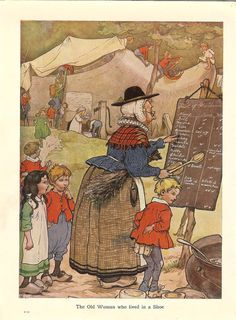 Vintage 1920s Frank Adams Nursery Rhyme Print - The Old Woman Who Lived In A Shoe Many Children Wooden Clog Blackboard Book Illustration