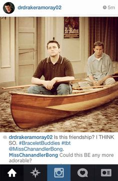 """"""" Matt Leblanc as Joey Tribbiani and Matthew Perry as Chandler Bing in a canoe in their apartment """" Friends. Friends Tv Show, Tv: Friends, Friends Best Moments, Serie Friends, I Love My Friends, Best Friends Forever, Chandler Friends, Friends Season, Friends Trivia"""
