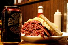Now that's what I'm talking about! Pastrami and Swiss on Rye w/ a Dr. Browns Cream Soda! From Carnegie Deli.