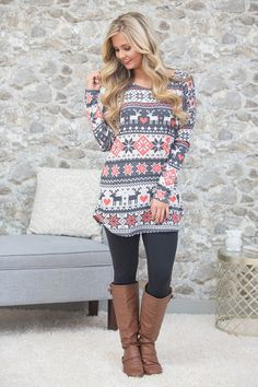 This beautiful pullover is sure to have you dreaming of snowy days! With a combination of grey, white, and coral-red, this lovely look is sure to shine all season long!