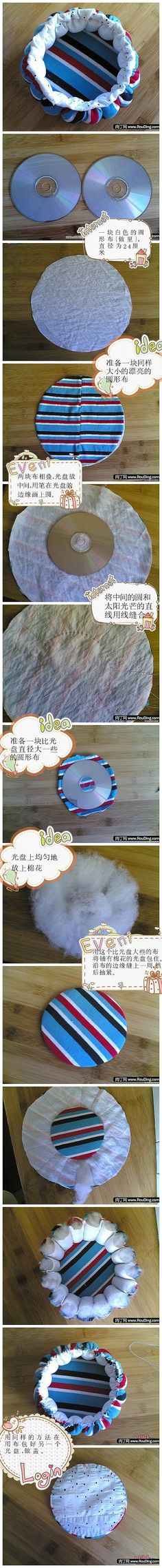 A round fabric basket. R: Different language but pictures tell all