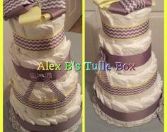Diaper cakes custom handmade by AlexBsTulleBox on Etsy