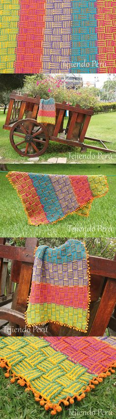 #Crochet paso a paso: ¡manta o cobija en punto cesta de colores con borde de…