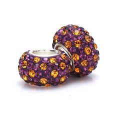 Set of 2 - Bella Fascini Royal Purple & Gold Crystals Pave - LSU - European Charm Bracelet Beads Made with Authentic Swarovski Crystal Elements - Fits Perfectly on Chamilia Moress Pandora and All Compatible Brands Bella Fascini Beads, http://www.amazon.com/dp/B00BQR22UM/ref=cm_sw_r_pi_dp_1duprb0ZQ5YYG