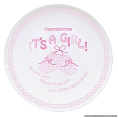 Personal Touch Gifts - Bootee It's a Girl Plate, £14.99 (http://personaltouchgifts.co.uk/bootee-its-a-girl-plate/)