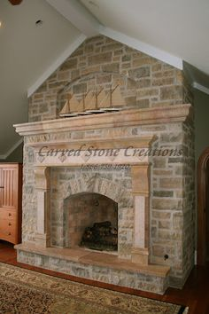 This rustic fireplace is one of a kind! Click on the picture to view more stone fireplaces. #Stone #Fireplace #Design #Art #Home #Decor