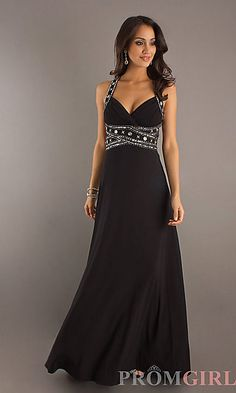 Floor Length Dress with Open Back Celebrate your prom or formal in style with this sexy long prom dress. This alluring classic dress for prom features a daring low cut V-neckline and dazzling detail on the empire waist and wide straps that cross the seductive open back. The perfect sexy long prom dress that will make for a magical prom night.