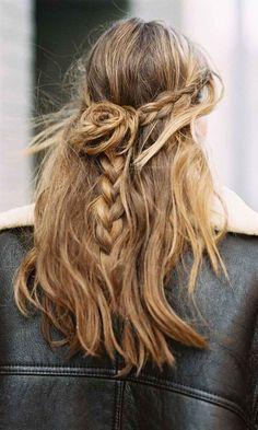 lässiger flower braid alltag frisur einfach #hairstyles