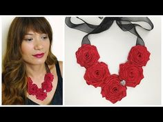 DIY Ribbon rose necklace - YouTube