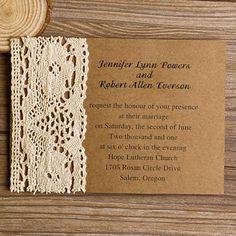klassisch Vintag spitze holzfrei Papier Einladungskarte 2014 Rustikal Spitze Einladungskarten Hochzeit 2014 bei optimalkarten.de