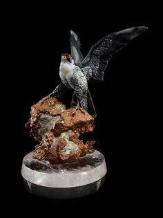 An Important Carved Agate Falcon on Native Copper Base, Gerd Dreher,, Idar-