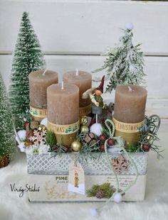 Christmas Advent Wreath, Christmas Gift Box, Christmas Mood, Christmas Candles, Christmas Centerpieces, Christmas Goodies, Xmas Decorations, Christmas Crafts, Woodland Christmas