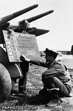 An RAF pilot chalks up the score of his Hawker Typhoon Mk aircraft on the Squadron board, 6 June 1944 - Atpl Theorie - Air Force Ww2 History, World History, Military History, Hawker Typhoon, Historia Universal, Vintage Airplanes, Battle Of Britain, Ww2 Aircraft, Royal Air Force