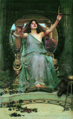 John William Waterhouse <em>Circe Offering the Cup to Odysseus</em>, 1891. Circe can use her wand to turn Odysseus' men into animals.