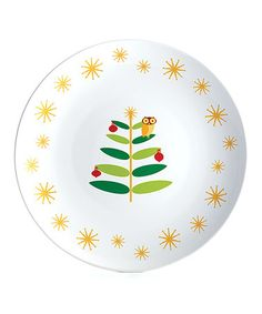 Look at this #zulilyfind! White Holiday Round Platter #zulilyfinds