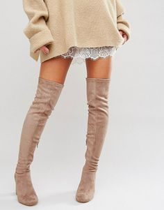 Vegas heeled over the knee boots by Miss Kg. Boots by Miss KG, Faux-suede upper, Over-the-knee design, Zip-side fastening, Round toe, High block heel, Wipe with a...