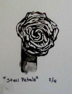 Steel Petals Framed Rose Illustration