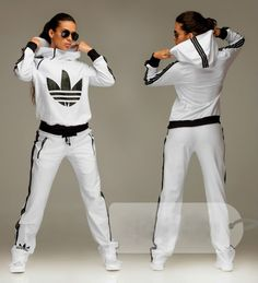 #tracksuit #bottoms Fashionable women's hooded white tracksuit bottoms