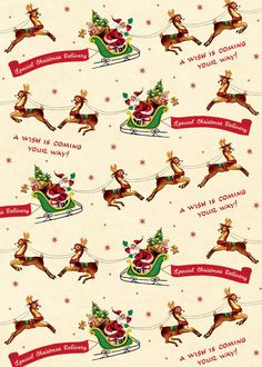 This Christmas Reindeer Wrapping Paper is wonderful ephemera for crafts, decoupage, gift wrap, framing, mod podge and more. Made of high quality Italian paper stock. By Cavallini. Christmas Moose, Retro Christmas, Vintage Holiday, Christmas Pictures, Holiday Images, White Christmas, Vintage Christmas Wrapping Paper, Christmas Gift Wrapping, Christmas Paper