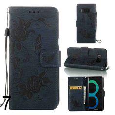 Coque unicolore pour Samsung Galaxy S8 plus papillon en cuir