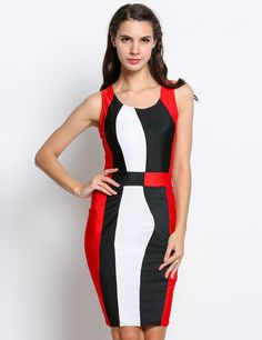 Blue Fashion Women Sleeveless Neck High Waist Color Patchwork Knee Length Sexy Bodycon Casual Party Going Out Dresses
