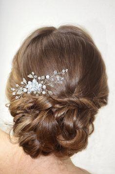 Wedding Hair Comb Bridal Pearl and Crystal Hair by NovaHandmade