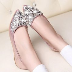 2017 new fashion single shoes bling rhinestone wedding shoes flat gold silver women's flat heel casual shoes #Affiliate
