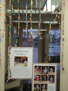 On-going beading project with documentation-- this is a pretty cool idea-- offer this as a choice maybe times a week and hang in the window. Change up the kind of beads. Counting the days of school? Reggio Emilia Classroom, Reggio Inspired Classrooms, Classroom Displays, Preschool Classroom, Preschool Art, In Kindergarten, Preschool Activities, Classroom Ideas, Inquiry Based Learning