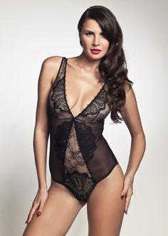 Pleasure State | Couture | Sicily Bodysuit | Black | Lace | Swarovski Crystals | Luxury Lingerie | Lace Bodysuit 1