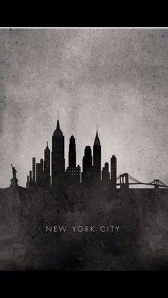 skyline new york handlettering jugendzimmer und scherenschnitte. Black Bedroom Furniture Sets. Home Design Ideas