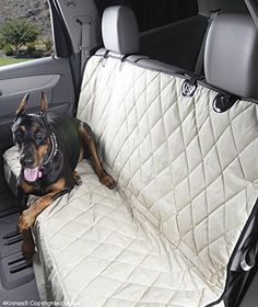 4Knines Dog Seat Cover for Cars with the Best Nonslip Backing, Tan Regular * You can get more details by clicking on the image.