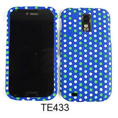 Unlimited Cellular Snap-On Case for Samsung Galaxy S2 Hercules T989 (White/Green Dots on Blue)