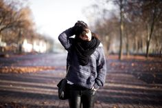 Sweater, Leather, Scarf