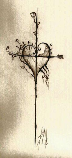 Heart & Cross Tattoo