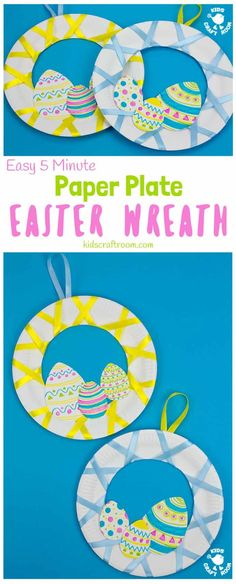 Looking for an easy 5 minute Easter craft for kids? This Easy Peasy Paper Plate Easter Wreath craft is super quick and virtually mess free! These pretty paper plate wreaths are such a fun Spring craft for kids. #kidscraftroom #eastercrafts #eastercraftsforkids #wreaths #wreathmaking #paperplatecrafts #easter #springcrafts via @KidsCraftRoom