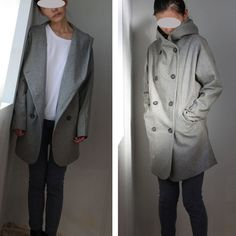 Gray coat Hoodie winter coa Hooded jacket long by RenzRags on Etsy, $118.00