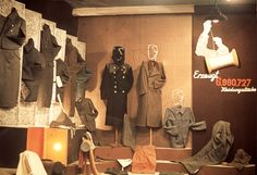 Lodz, Poland, A display of uniforms and clothing sewn in the ghetto.