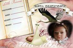 birth certificate aline Birth And Death, Birth Certificate, Reborn Dolls, Little Boys, I Movie, Marriage, Nursery, Personal Care, Template