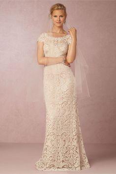 simple chic lace wedding dress | August Gown by Tadashi Shoji for BHLDN