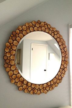 Create the illusion of wider space with this wood slice mirror. It's also perfect way to introduce an outdoorsy element into a room.