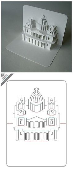 DiY Palace greeting card from paper 3D